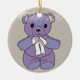 PURPLE TEDDY BEAR CERAMIC ORNAMENT