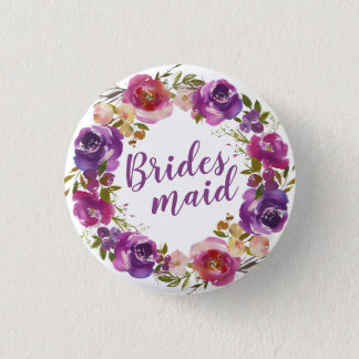 Purple Text and Summer Floral Wreath Bridesmaid 1 Inch Round Button
