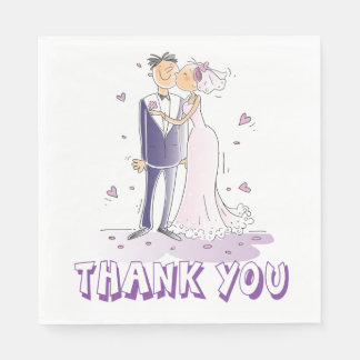 Purple Thank You Bride & Groom Cartoon Wedding Disposable Napkin