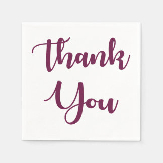 Purple Thank You Calligraphy Wedding Party Paper Napkins