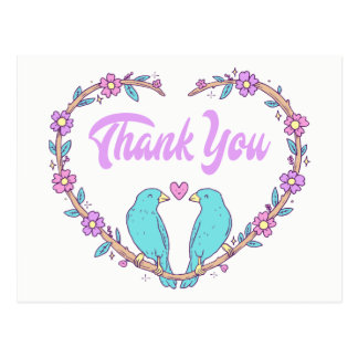 Purple Thank You Floral Heart Lovebirds Turquoise Postcard