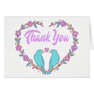 Purple Thank You Floral Heart Lovebirds Wedding Card