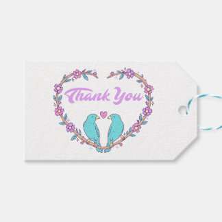 Purple Thank You Floral Heart Lovebirds Wedding Gift Tags