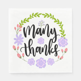 Purple Thank You Flower Green Leaves Watercolor Paper Napkin