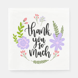 Purple Thank You Flower Leaves Watercolor Disposable Napkin