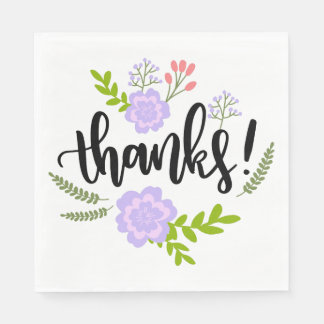 Purple Thank You Flower Leaves Watercolor Wedding Paper Napkins
