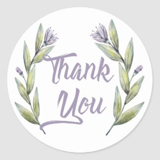 Purple Thank You Green Laurel Leaves &  Flowers Classic Round Sticker