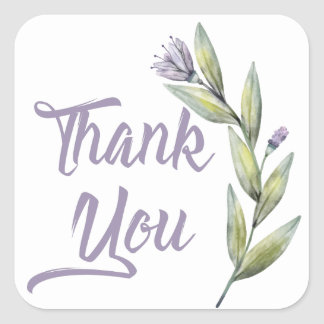 Purple Thank You Green Laurel Leaves &  Flowers Square Sticker