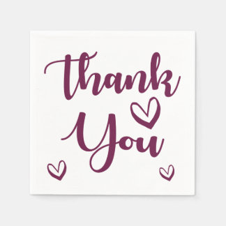 Purple Thank You Love Hearts Wedding Party Paper Napkins