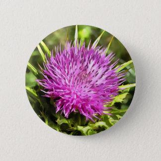 Purple Thistle Wildflower 2 Inch Round Button