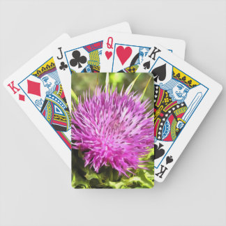 Purple Thistle Wildflower Bicycle Playing Cards