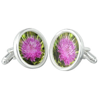 Purple Thistle Wildflower Cufflinks