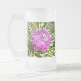 Purple Thistle Wildflower Frosted Glass Beer Mug