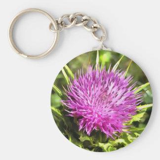 Purple Thistle Wildflower Keychain