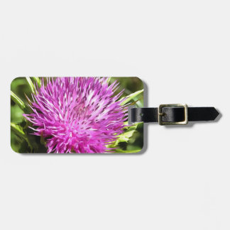 Purple Thistle Wildflower Luggage Tag