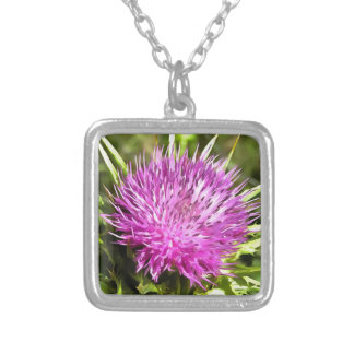 Purple Thistle Wildflower Silver Plated Necklace