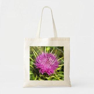 Purple Thistle Wildflower Tote Bag