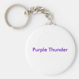 Purple Thunder Basic Round Button Keychain