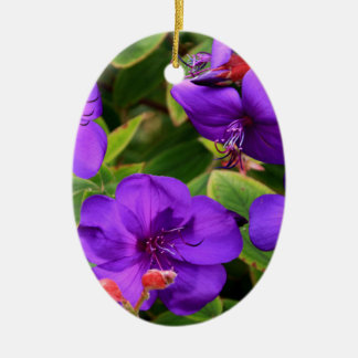 Purple Tibouchina Flowers Ceramic Ornament
