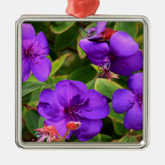 Purple Tibouchina Flowers Metal Ornament