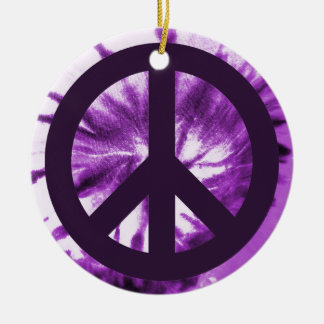 Purple Tie-Dye with Peace Symbol Ceramic Ornament