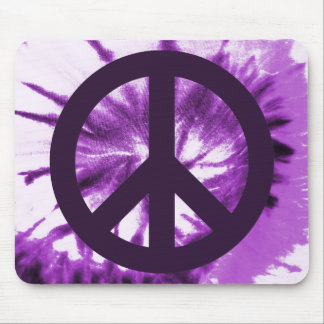 Purple Tie-Dye with Peace Symbol Mouse Pad