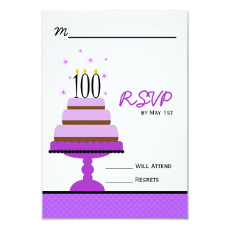 Purple Tiered Cake 100th Birthday Party RSVP Card
