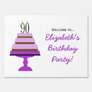 Purple Tiered Cake 90th Birthday Party Sign
