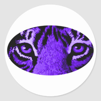 Purple Tiger Eyes jGibney The MUSEUM Zazzle Classic Round Sticker