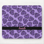 Purple tiger print hearts mouse pad