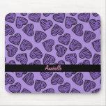 Purple tiger print hearts mouse pad