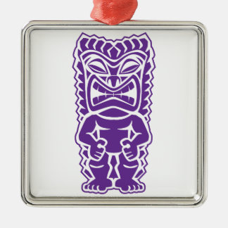 Purple Tiki Totem Warrior Silver-Colored Square Ornament