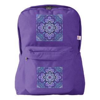 Purple tile print on American Apparel backpack