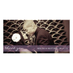 PURPLE TINT SHEER LINE | WEDDING THANK YOU CARD PERSONALIZED PHOTO CARD