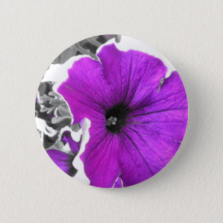 Purple Tinted Black and White Petunias 2 Inch Round Button