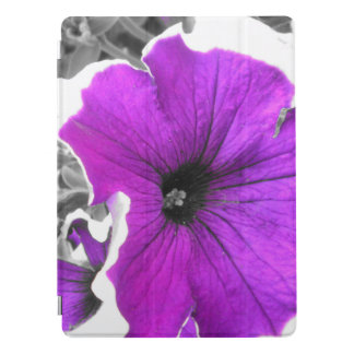Purple Tinted Black and White Petunias iPad Pro Cover