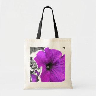 Purple Tinted Black and White Petunias Tote Bag
