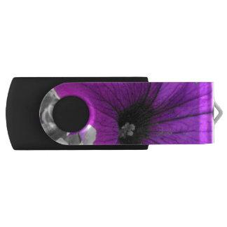 Purple Tinted Black and White Petunias USB Flash Drive