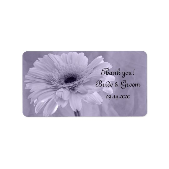 Purple Tinted Daisy Wedding Thank You Favour Tag