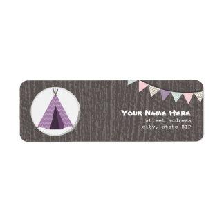 Purple Tipi Camping Birthday Party Address