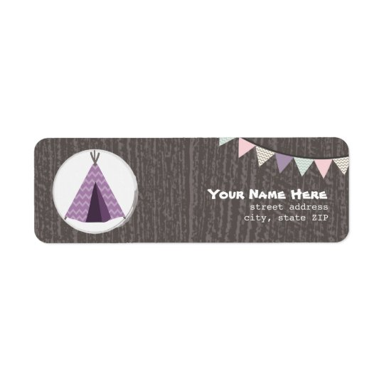 Purple Tipi Camping Birthday Party Address Return Address Label