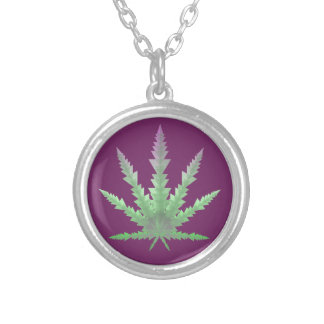 purple tipped cannabis triangles round pendant necklace