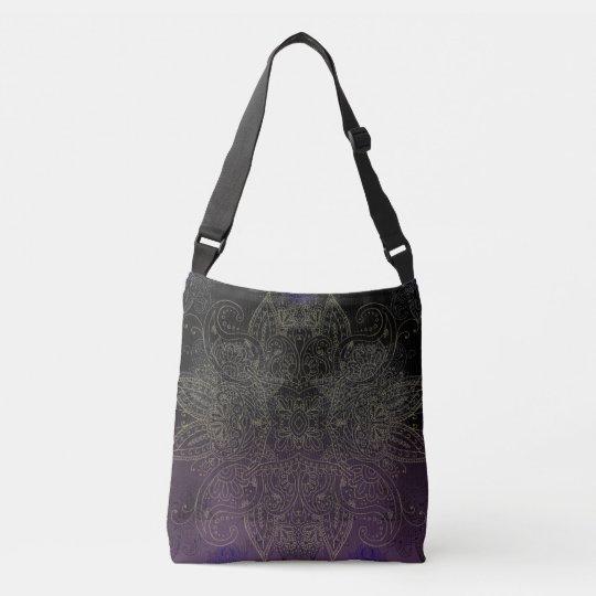 Purple to Black Fade Gold Mehndi Crossbody Bag