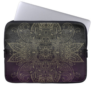 Purple to Black Fade Gold Mehndi Laptop Sleeve