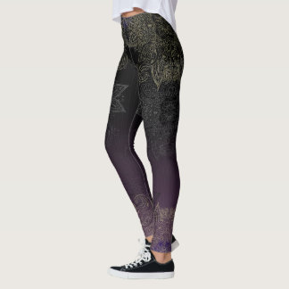 Purple to Black Fade Gold Mehndi Leggings