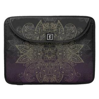 Purple to Black Fade Gold Mehndi Sleeve For MacBooks