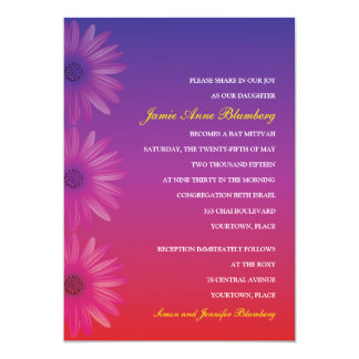 Purple to Red Ombre Daisy Bat Mitzvah Card