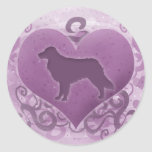 Purple Toller Valentine Round Stickers