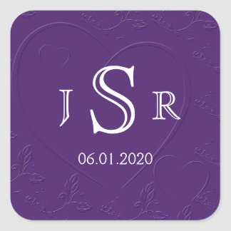 Purple Tone on Tone Linked Hearts Monogram Sticker