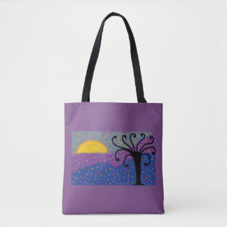 purple tote bag with colourful modern design
